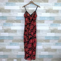 Victorias Secret VTG Maxi Chemise Lingerie Black Red Floral Rare Womens ... - $98.99
