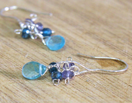 Natural Apatite Mystic Topaz & Iolite Dangle Earrings in Solid Sterling ... - $45.53