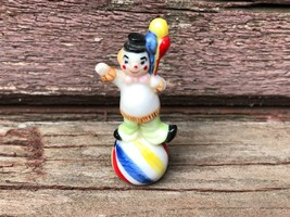 """Vintage Miniature Porcelain CLOWN Figurine w Balloons 1 3/4"""" - $9.85"""