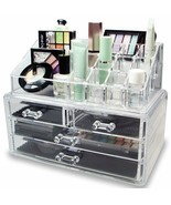 Clear Makeup Cosmetic and Jewelry Case Organizer Storage Box Drawers - $26.24