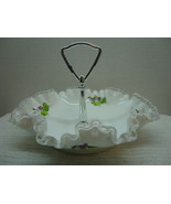 Fenton China silver crest milk glass ruffled rim hand painted signed can... - $15.00