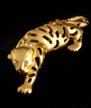 BIG Cat brooch / gold Jaguar / leopard pin / tiger rhinestone lapel pin ... - $85.00