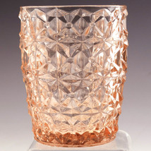 Jeannette Glass Holiday Buttons & Bows 4 inch Flat Tumbler Pink - $11.64