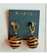 Kenneth Jay Lane Striped Giraffe Print Dangle Earrings - $45.79