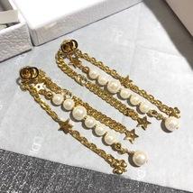 AUTH Christian Dior 2019 LE PRINTEMPS DE DIOR Multi Chain Long Dangle Earrings image 2