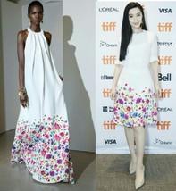 $4K New R2017 Oscar De La Renta Stunning Floral Multi White Runway Dress Us 8 - $1,295.00