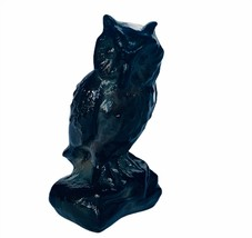 Owl figurine vtg sculpture Boyds black glass perch bird great horned min... - $39.55