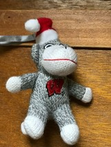 Small University of Wisconsin Gray & White Stuffed Sock Monkey w Santa Hat Chris image 1