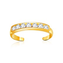 Womens Real Solid 14k Yellow Gold Pave Set Cubic Zirconia Fashion Toe Ring - $99.10
