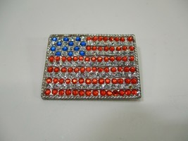 "VTG Silver Tone & Rhinestone American Flag Pin Brooch Rectangle 1 5/8"" x... - $8.99"