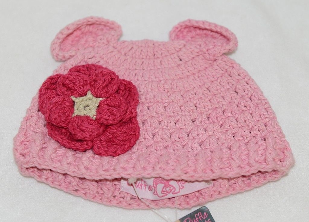 Ruffle Butts Pink Ear Hat With Flower Cotton 6 To 12 Months