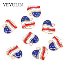10pcs  Alloy Enamel Stars Love Heart Rhinestone American Flag Charms Pen... - $18.24