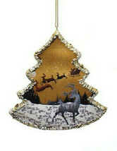 KURT ADLER WINTER WOODS TREE FRAME REINDEER WINTER SCENE CHRISTMAS ORNAMENT - $10.88