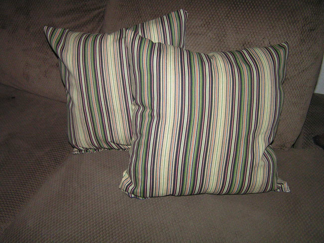 2 stripe pillows size 18 x 18 great for sofa or bed multicolored stripes