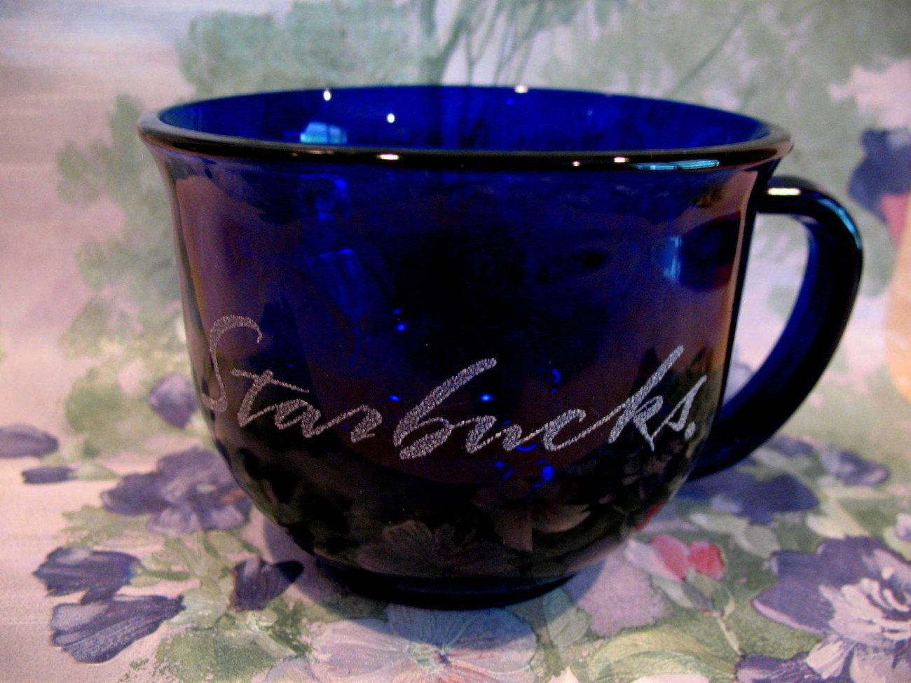 Starbucks Coffee Mug Cup Big Cobalt Blue with Etched Script Collector Souvenir