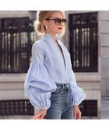 Blue V neck striped top long sleeves women blouse spring summer shirt pl... - $28.00