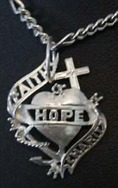 Primary image for LOOK FAITH HOPE AND CHARITY Pendant charm Celtic Jewelry Sterling Silver 925