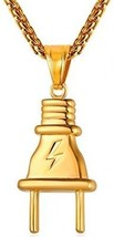 U7 Men Hip Hop Plug Pendant 18K Gold Plated Necklace 22 Inch Chain - $37.92