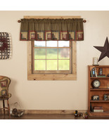 Tea Cabin Valance with Block Border Country Curtain Lined Vhc Brands  - $29.95+