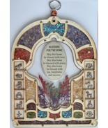 Floral wood ornament with 12 zodiac astrology symbols, hamsa & home bles... - £28.94 GBP