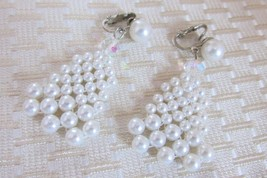 Vintage Japan Dangling Woven White Faux Pearls w/ Crystal Earrings Clip On - £9.53 GBP
