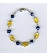 Handmade Handcrafted Yellow Blue Clear Beads Beaded Bracelet Jewelry - $2.50