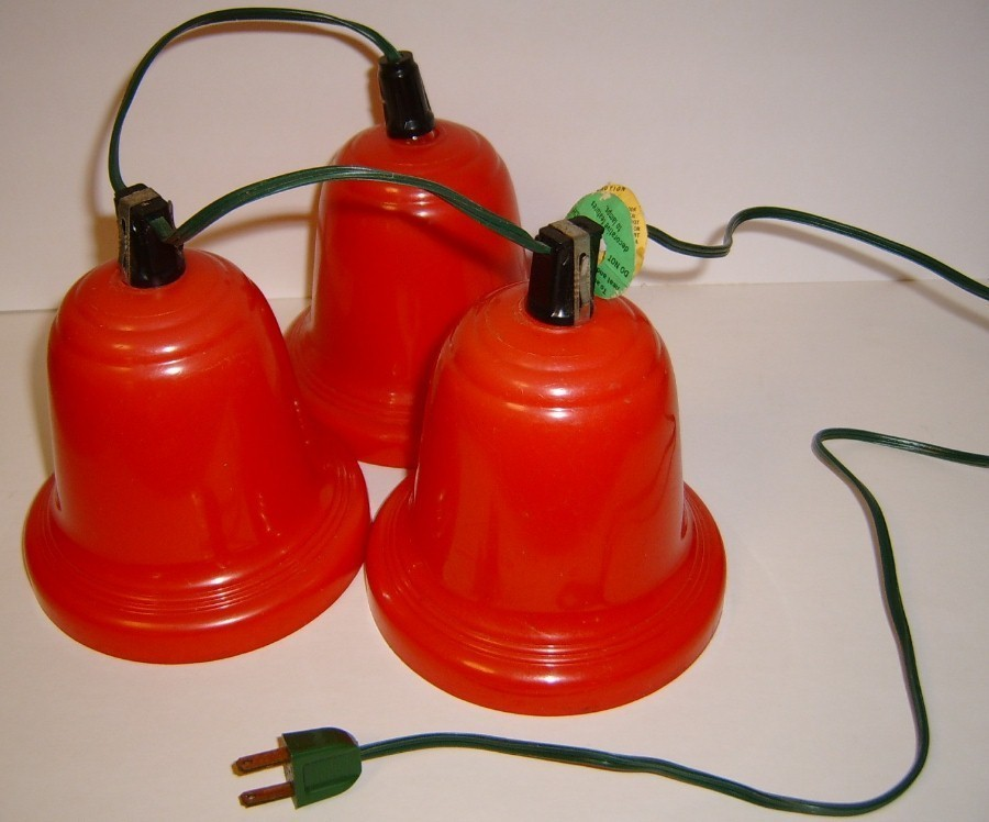 Large Vintage Red Plastic Blinking Bell Lights