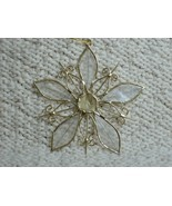 Mother-of-Pearl SNOWFLAKE ORNAMENT with Gold Wire - Very Pretty! - £1.44 GBP
