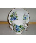 Queen Anne English Bone China Cup & Saucer - Blue & Pink Floral Pattern - $22.00
