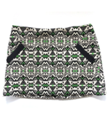 Topshop Black Green Geometric Mini Skirt Womans Size 8 Pockets New with ... - $31.88