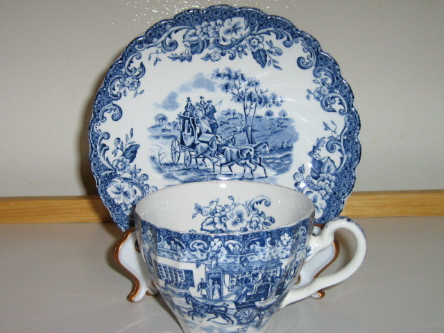"Johnson Bros. English Ironstone Cup & Saucer - ""Hunting Country"" - Discontinued"