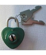 Mini Heart Dark Green Working Lock with 2 Keys - $3.60