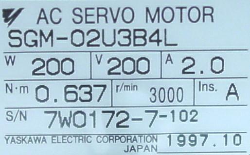 Yaskawa SGM 02U3B4L Servo Motor Sigma I Series