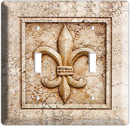 FLEUR DE LIS DOUBLE TOGGLE LIGHT SWITCH WALL PLATE SWITCH CO