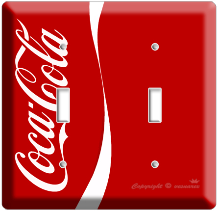 NEW VERTIC RED COCA-COLA CLASSIC DOUBLE LIGHT SWITCH COVER W