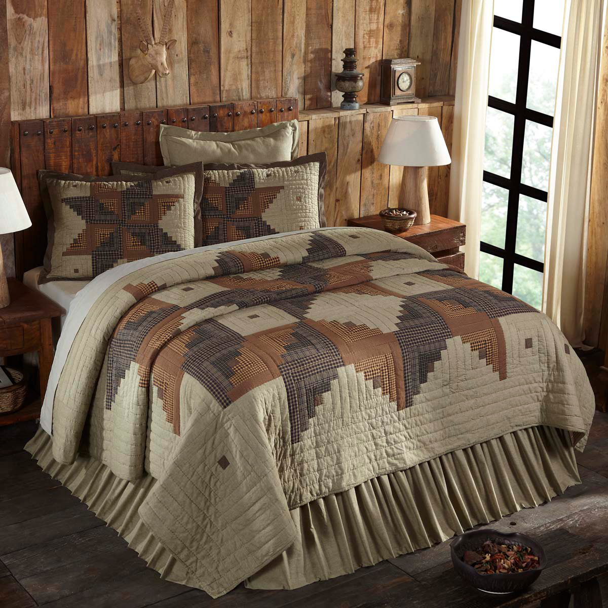 5-pc Novac Queen Quilt Set - Fabric Euro Shams & Hand-quilted Standard Shams VHC