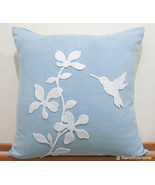Summer Blossom Humming Bird Soft Blue And White Pillow Cover. Pretty Cus... - $29.50