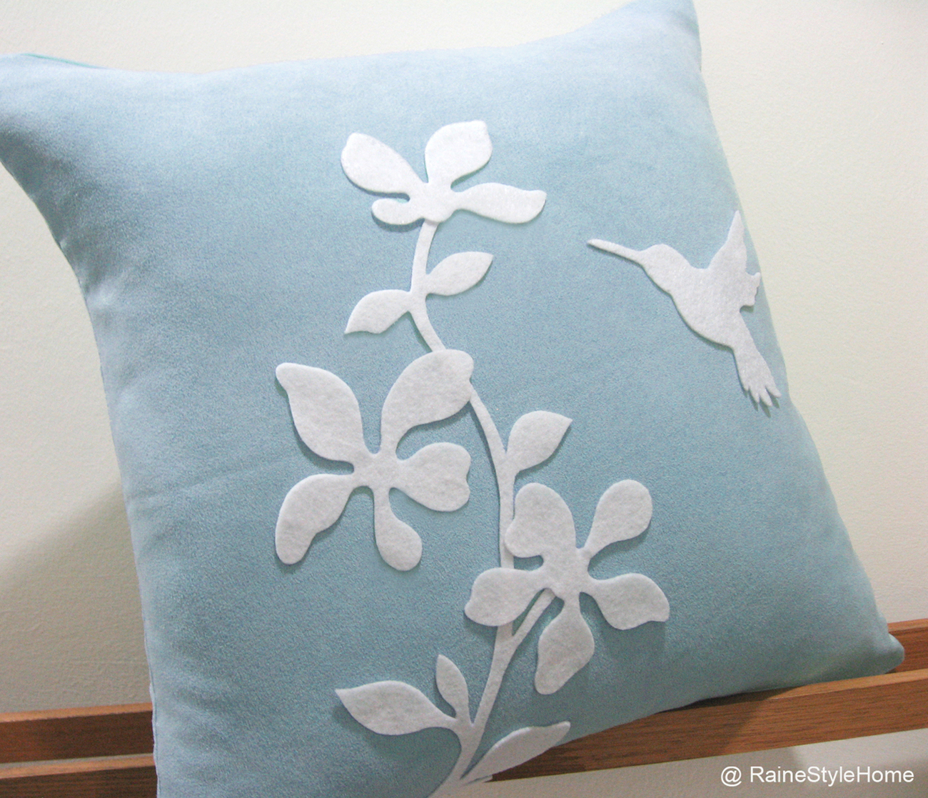 Summer Blossom Humming Bird Soft Blue And White Pillow Cover. Pretty Cushion