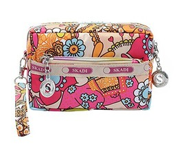 Waterproof Oxford Cloth Three Layer Clutch Handbag Coin Purse, Colorful Flower