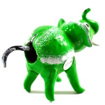 Handmade Oaxaca Copal Wood Carving Folk Art Green Elephant Bobble Tail Figurine image 4