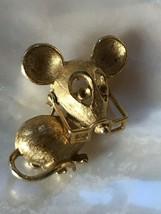 Vintage Avon Signed Small Goldtone Mouse with Movable Glasses Brooch Pin... - $6.79
