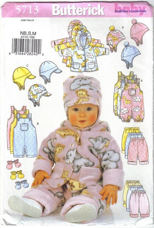 Butterick Pattern 5713 Infants' Wardrobe Sizes NB S & M Jacket Overalls Hat more