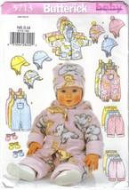 Butterick Pattern 5713 Infants' Wardrobe Sizes NB S & M Jacket Overalls Hat more image 1