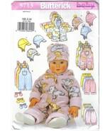 Butterick Pattern 5713 Infants' Wardrobe Sizes NB S & M Jacket Overalls ... - $6.99