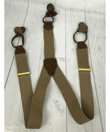 Unbranded Men's Y Back Brown Suspenders Elastic Leather Button - $14.95