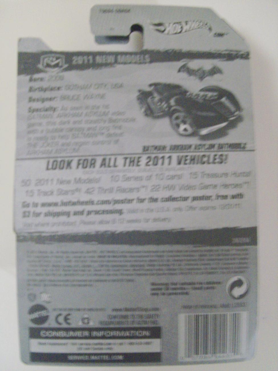 2011 Hot Wheels Arkham Asylum Batmobile Batman Logo on Card