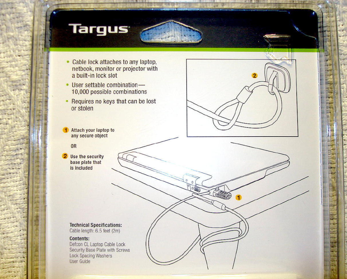 Targus Laptop Notebook Monitor Combination Cable Lock AntiTheft Device Defcon CL