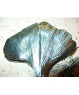 Vintage  ICY TEAL Ginkgo Foil Millinery Flower ... - $9.99