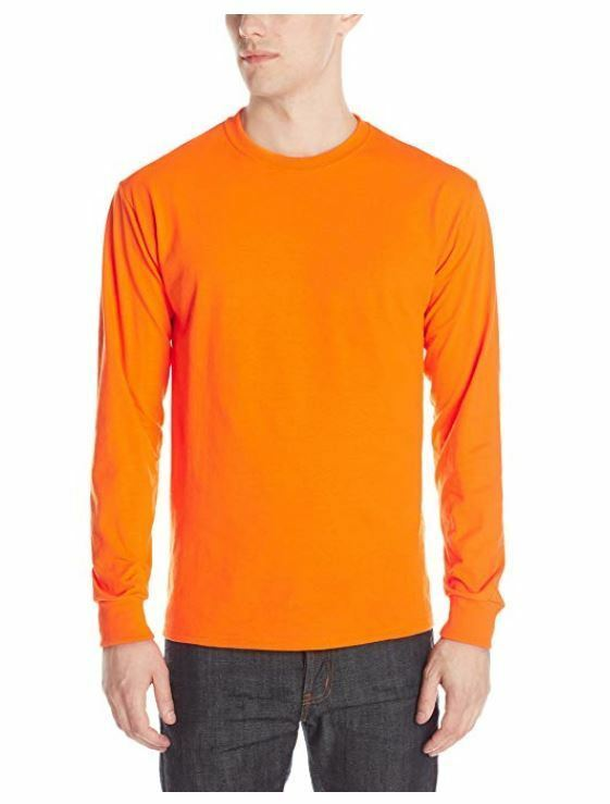 NEW Jerzees Men's Adult Long Sleeve Tee X Sizes, Safety Orange, 2XL 166 Hunting  - $9.49