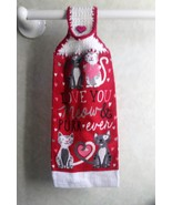 Valentine Cats Hanging Towel - $3.25